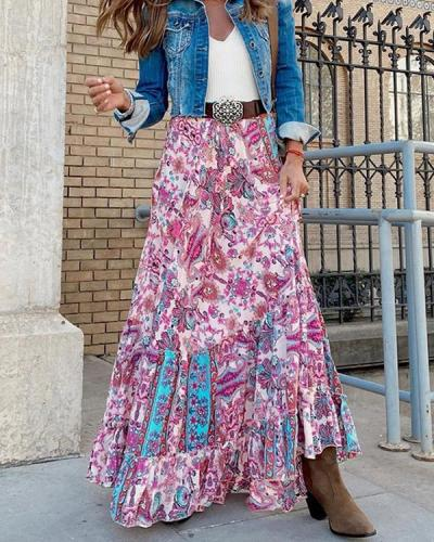 Eethnic Print Layer Maxi Skirts