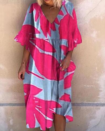 Vintage Print Fashion High Waist Dress
