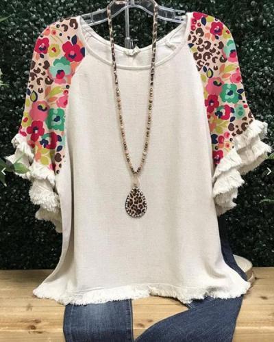 Flower-Print Crew Neck Cotton-Blend Short Sleeve Shirts & Tops