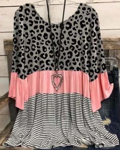 3/4 Sleeve Cotton-Blend Leopard-Print Crew Neck Shirts & Tops