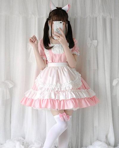 Pink Kawaii Cat Dress Lolita Dress Short Sleeve Maid Dress