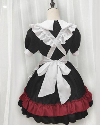 Halloween Gothic Maid Dress Short Sleeve 4-piece Set Cosplay Dress