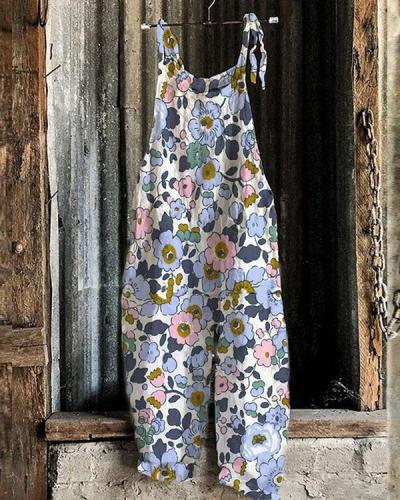 Fashion Linen Jumpsuits Multifloral Print Rompers