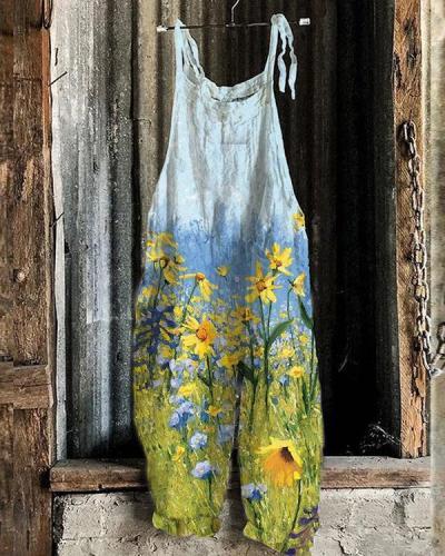 Women Lace Up Strap Rape Flower Field Print Linen Jumpsuits