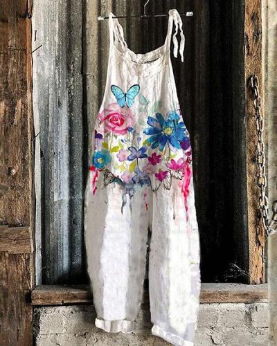 Fashion Watercolor Floral Women Casual Linen Jumpsuits