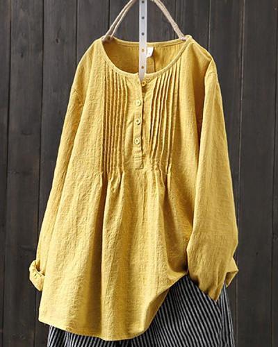 Pure Color All-match Linen Shirt