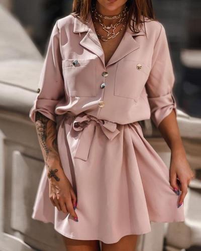 Suit Collar Solid Color Shirt Dress