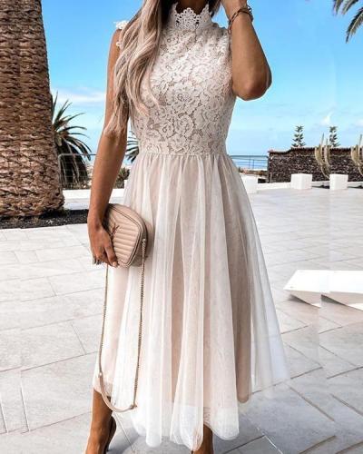 Mesh Lace Patchwork High Collar Sleeveless Dress