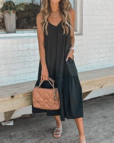 Back Solid V Neck Slip Dress