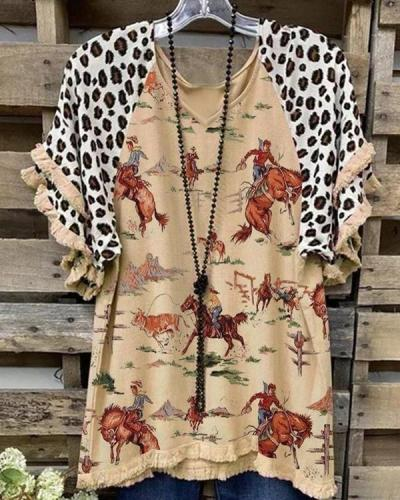 Print Cotton-Blend Short Sleeve Casual Shirts & Tops