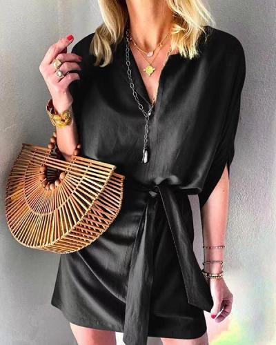 Half-sleeve Lace-up Satin Casual Dress