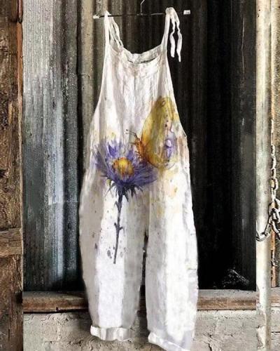 Women Butterfly&Flower Comfy Linen Jumpsuits
