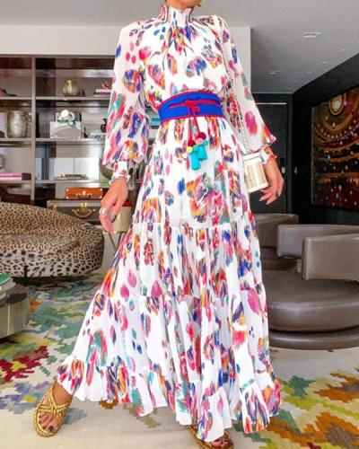 Fashion Long Sleeve Print  Maxi Dress