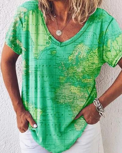 Women's Summer Printed Cotton V Neck Casual T-Shirts