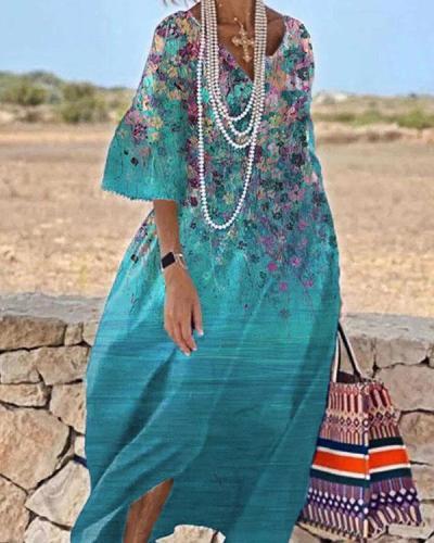 Women Floral Casual Flowy Dress Vacation Maxi Dress