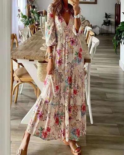 Women V Neck Print  A-line Maxi Dresses