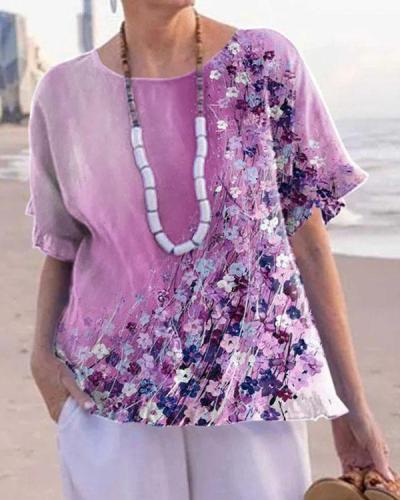 Purple Flower Print Round Neck Shirt&Blouse