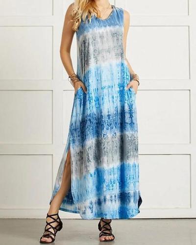 Sleeveless Tie Dye Summer Casual Maxi Dress