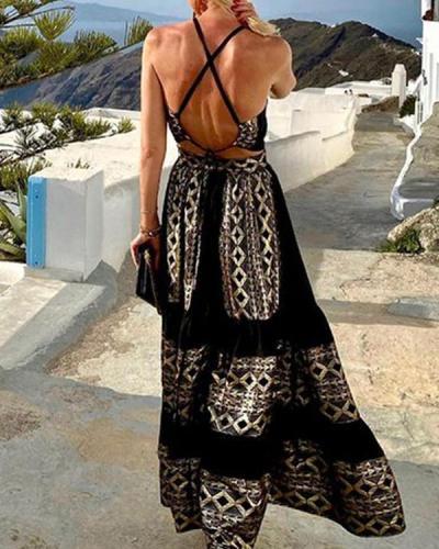 Fashion Black Backless Maxi Dress