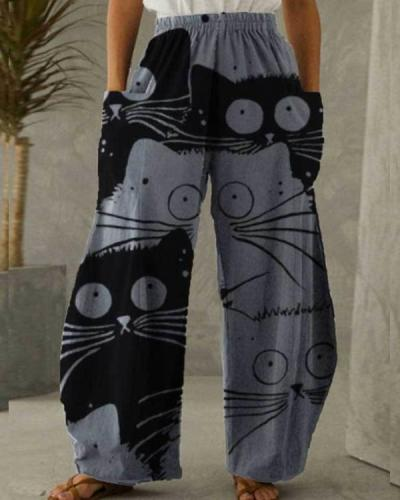 Women Cotton Linen Pocket Cat Printing Pants