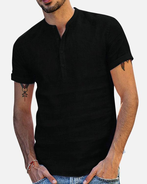 Mens Multi Color Cotton Blend Solid Casual Shirts