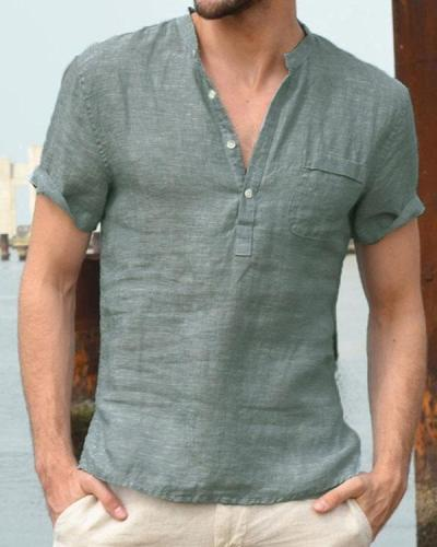 Mens Cotton Blend Solid Buttons Casual Shirts