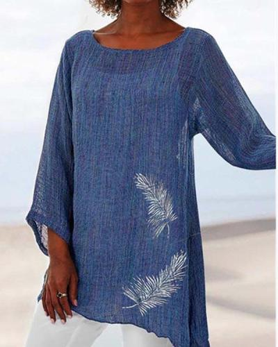 Feather Print Round Neck Long Sleeve Top