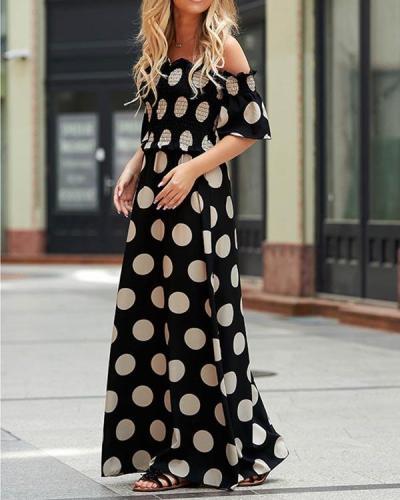Dot Off Shouler Maxi Dress
