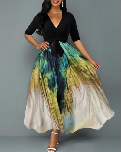 Tie Dye Print Plunging Neck Belted Maxi Dress