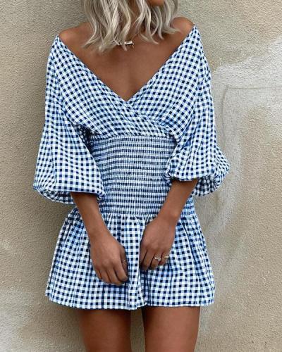 Lattice Long Sleeve MIni Dress