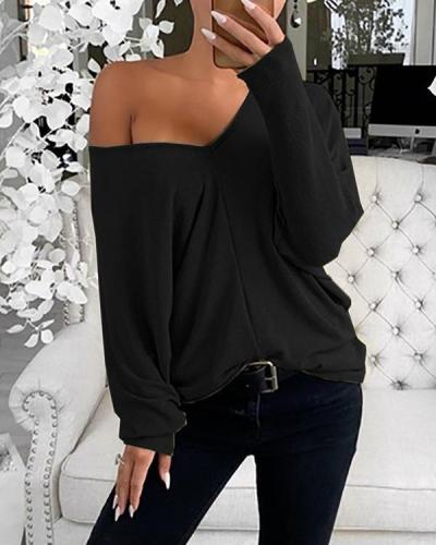 Women Casual Solid V-Neck Tops