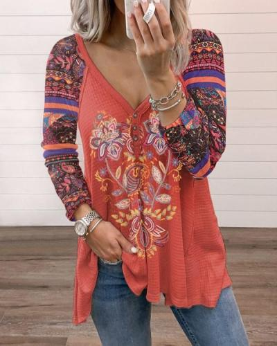 Red Tribal Printing Buttoned V-neck Vintage Long Sleeve T-shirt