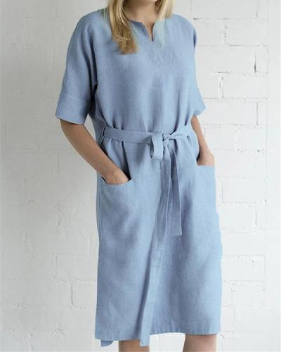 Loose And thin Lace-up Linen Dress