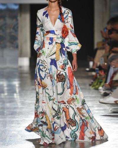 Women Autumn Print A-line Dress V Neck Floor Length High-waist Dress