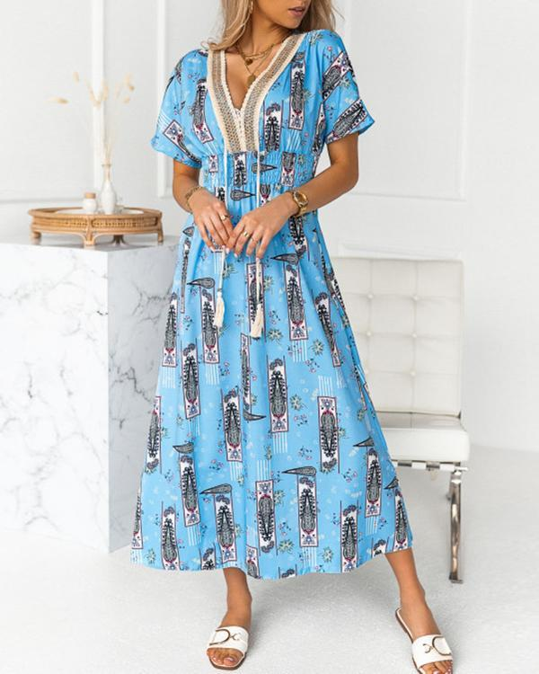 Lace Rope Stitching Printed V-neck Short-sleeved Dress