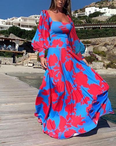 Women Long Sleeve Square-Neck Flowy Bohemian Maxi Dress