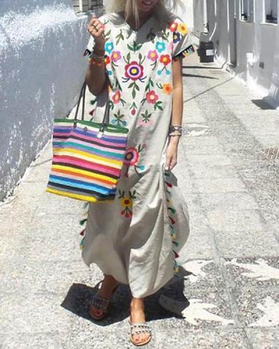Bohemian Color Fringed Print Dress