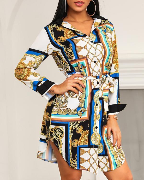 Printed Long-sleeved Casual Fashion Shirt Dress