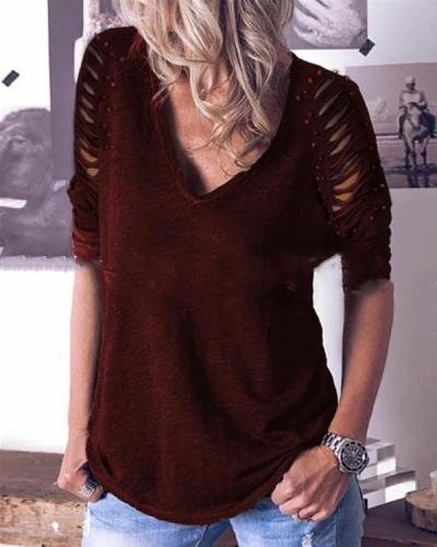 Hollow out Sleeve Casual Long Sleeves Dot Studded T-shirt
