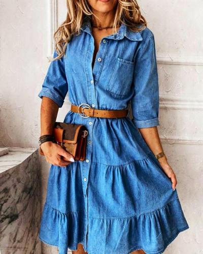 X-line Dress Collar Denim Dress