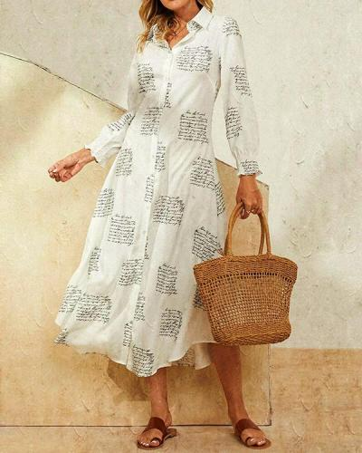 Leaves Print Lapel Button Long Sleeve Maxi Shirt Dress