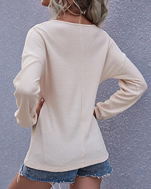 Lantern Sleeve V-neck Button Casual T-shirt