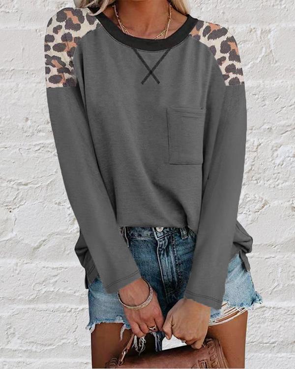 New Round Neck Leopard Print Long Sleeve T-shirt