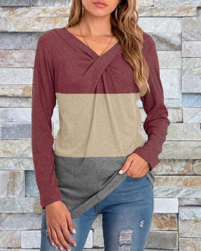 V-neck Long-sleeved Stitching Pullover Bottoming Shirt