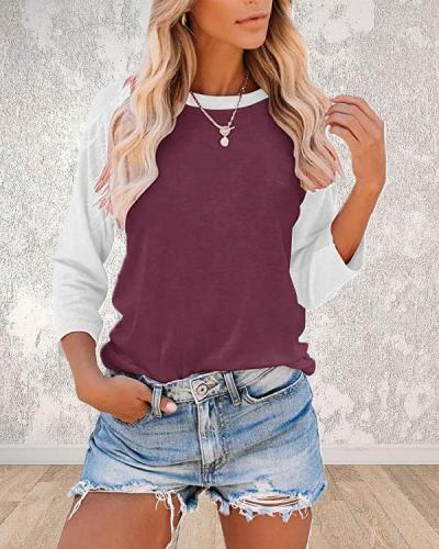 Casual Color Block 3/4 Sleeve Top