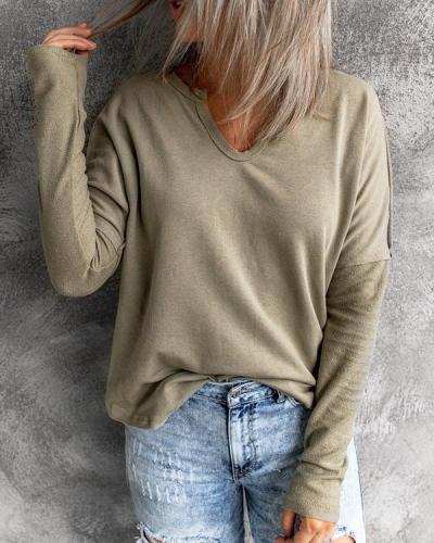 Stitching V-neck Long-sleeved Sweatshirt