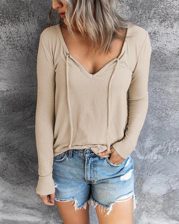 Solid Color Drawstring Long Sleeves Hoodie Tops