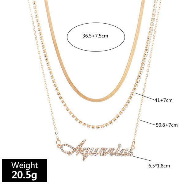 3PCS 12 Constellations Pendant Necklace