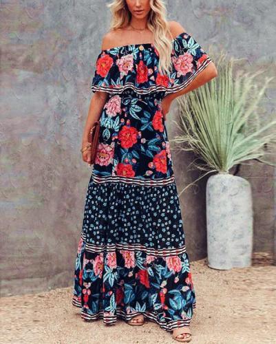Tropez Floral Off The Shoulder Maxi Dress