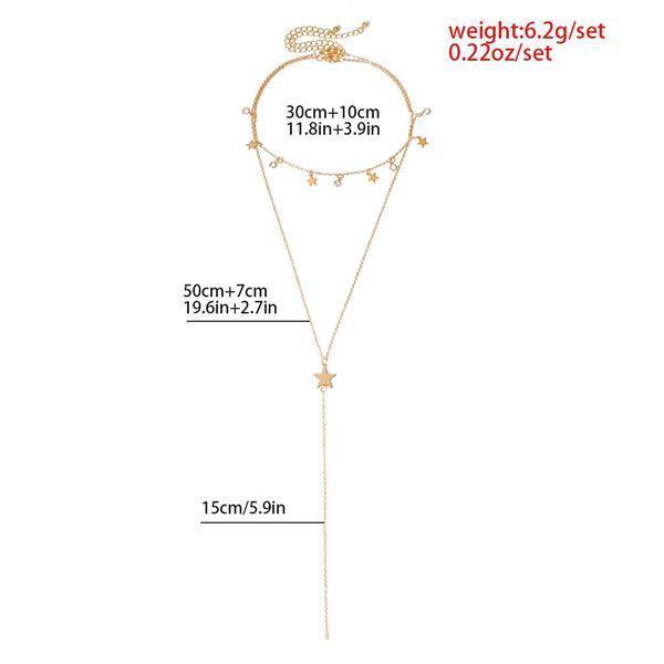 2PCS Star Pattern Layered Chain Necklace